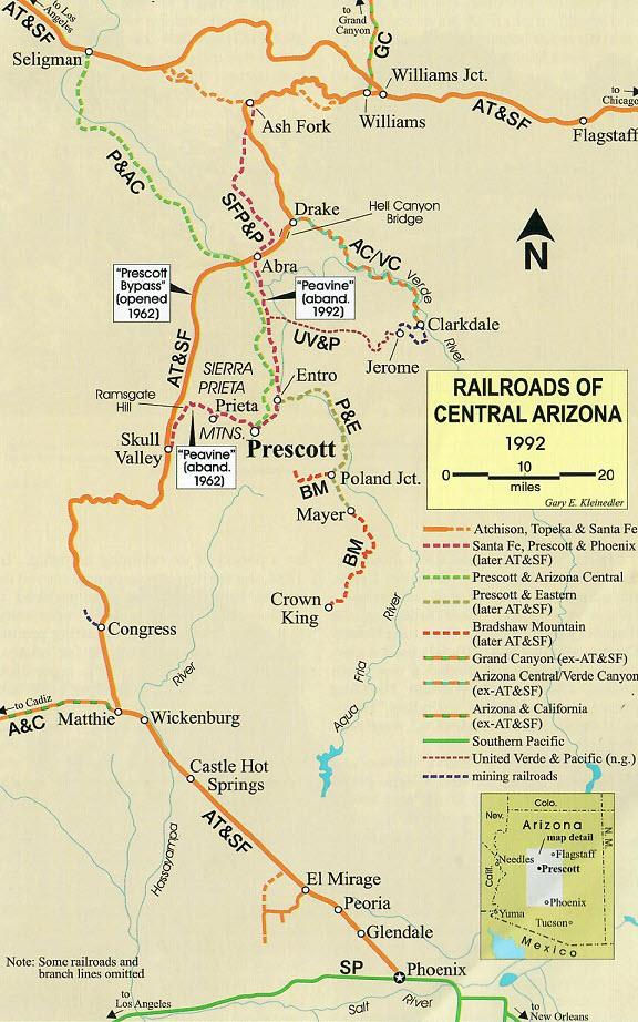 Map Of Central Arizona.Railroads Of Central Arizona